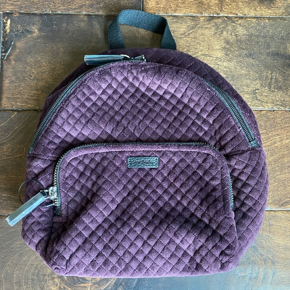 Vera Bradley Velvet Iconic Mini Backpack in Wine